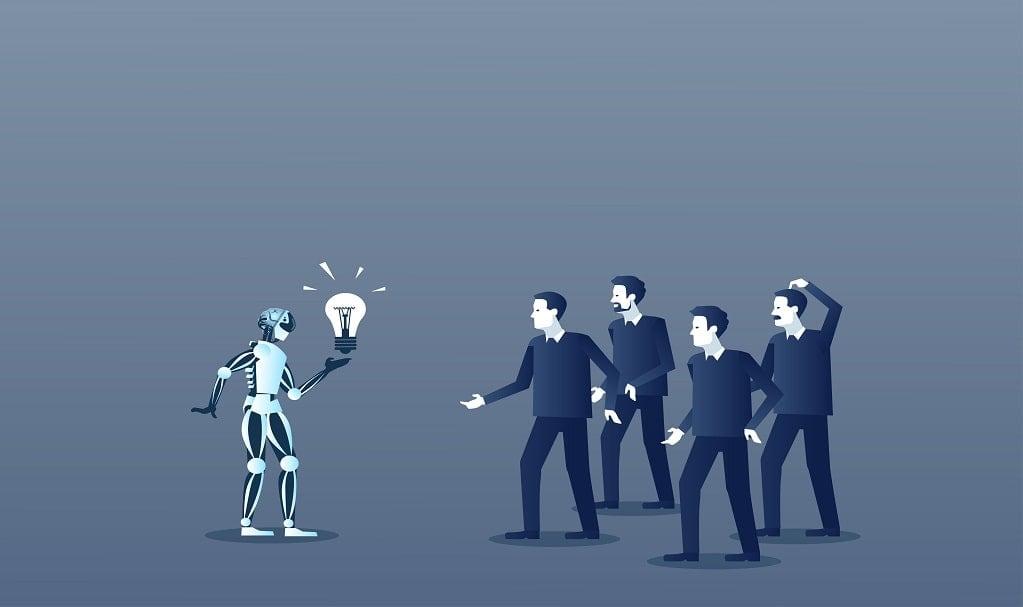 robot parlant avec des humains