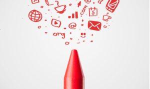 crayon rouge utilisé pour créer de nombreux dessins